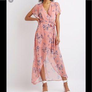 Floral pink hi low maxi dress